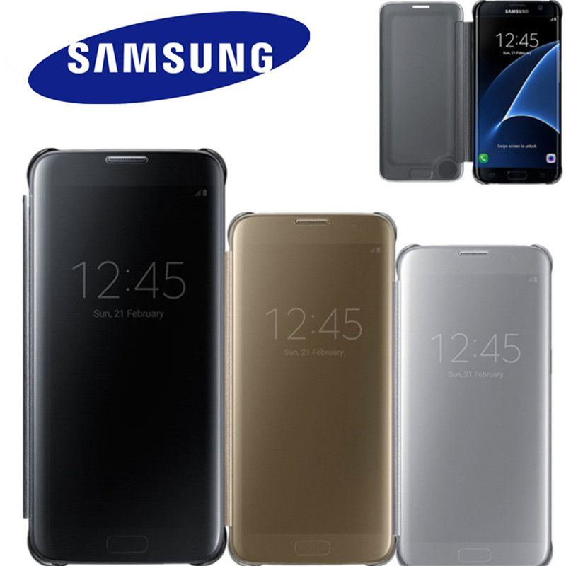 100% Original Mirror Clear View Smart Cover Phone Case For Samsung Galaxy S7 G9300 S7 edge G9350 With Rouse Slim Flip