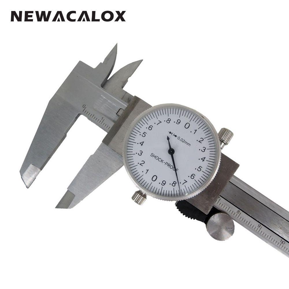 NEWACALOX à Voie Métrique Outil De Mesure Cadran Étrier 0-150mm/0.02mm anti-Choc de Précision En Acier Inoxydable Vernier Étrier