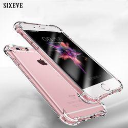 Sixeve Super shockproof caja suave clara para iPhone 6 s 6 S 7 8 más 6 más 6 splus 7 más 8 más silicio lujo teléfono celular contraportada