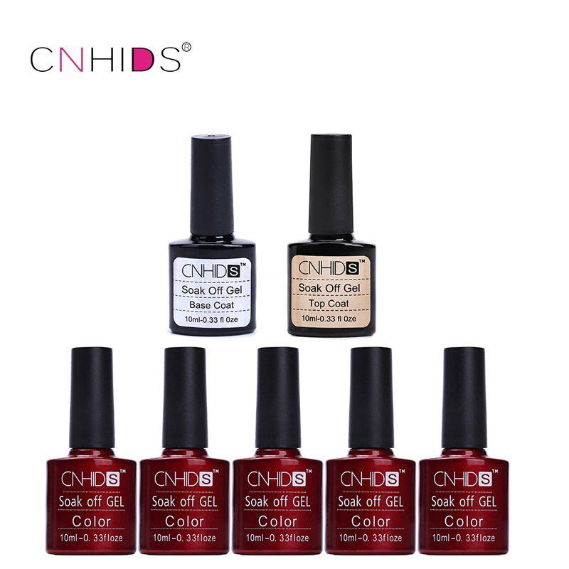 CNHIDS 5 PC Top Coat+ Base Nail Gel Polish UV&LED Shining Colorful 132 Colors10ML Long lasting soak off Varnish cheap Manicure