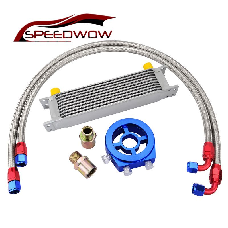 SPEEDWOW 10Row AN10 Universal Engine Transmission Oil Cooler+Filter Relocation Kit+Swivel Hose End Fitting Hose Line Kits