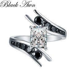 Ювелирные украшения 5,1 г 100% натуральная 925 пробы серебряные черные обручальные кольца с камнями для Для женщин Bague C299