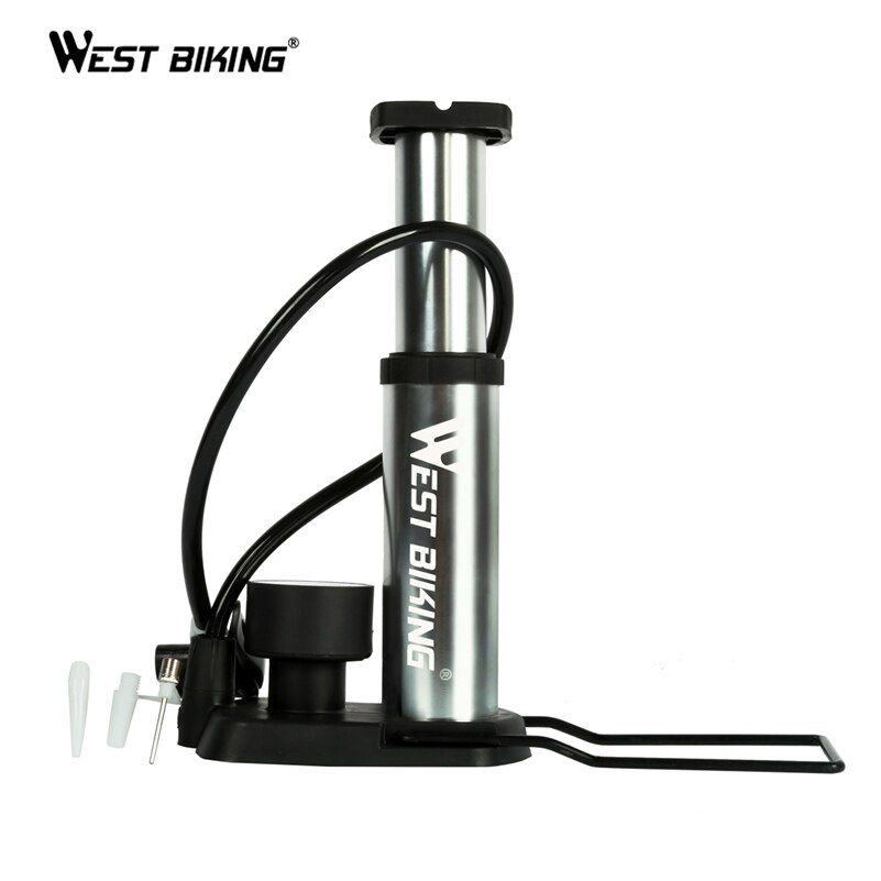 WEST BIKING <font><b>Ultra</b></font>-light MTB Bike Pump Portable Pump With Pressure Gauge Bomba de ar bicicleta 120 Psi High Pressure Bicycle Pump