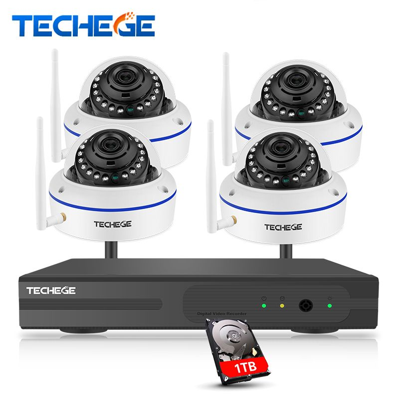 Techege Plug and Play 4CH Wireless NVR Kit P2P 1080P HD Outdoor IR Night Vision Vandalproof Security IP Camera WIFI CCTV System