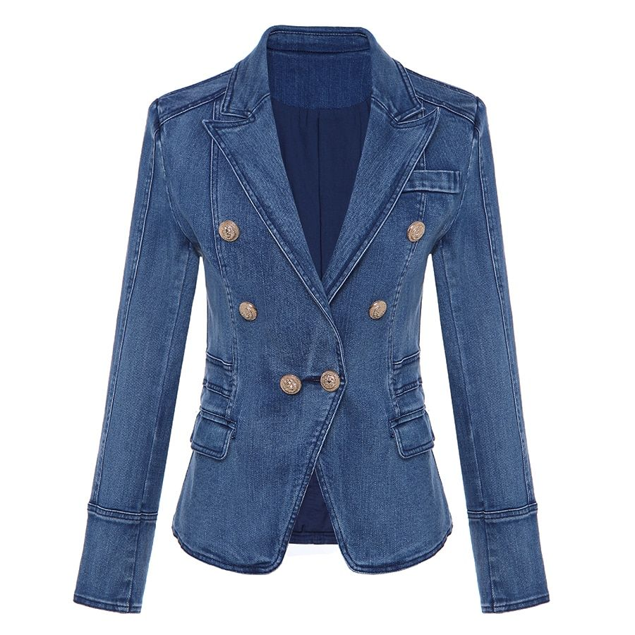 HIGH QUALITY New Fashion 2018 Designer Blazer Women's Metal Lion Buttons Double Breasted Denim Blazer Jacket Outer <font><b>Coat</b></font>