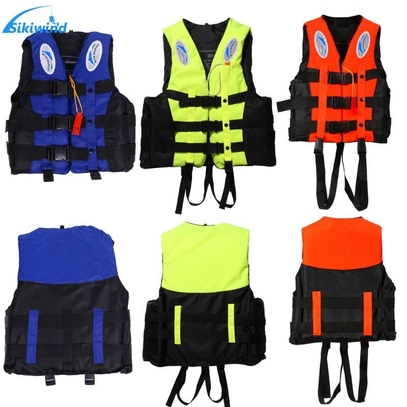 Polyester Life Jacket for Adult Kids Universal Outdoor Swimming Boating Ski Drifting Vest Survival Suit with Whistle S-XXXL