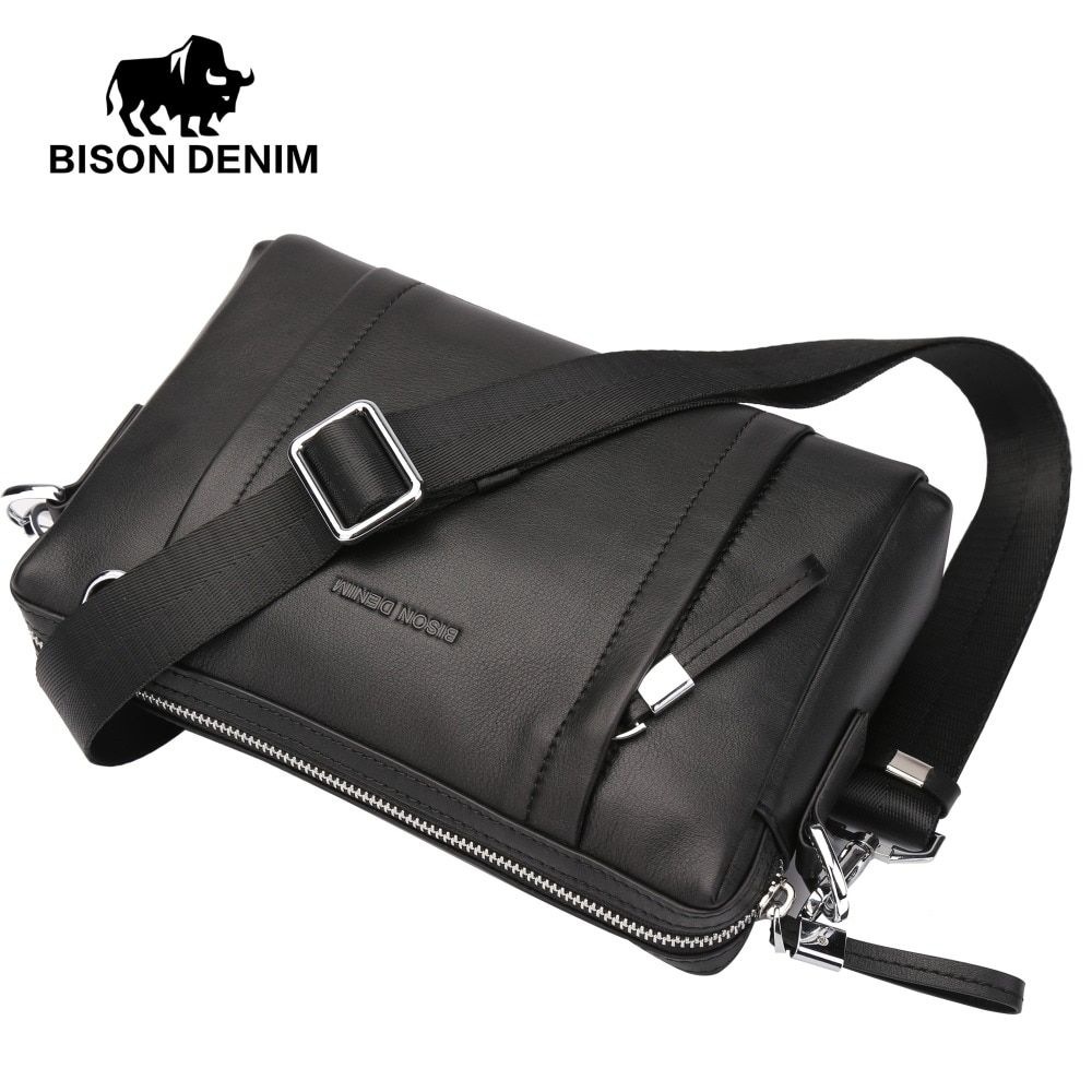 BISON DENIM 100% Genuine Leather Guarantee Crossbody Bag Black Messenger Bag Men's Clutch bag Zipper Wallet N8016