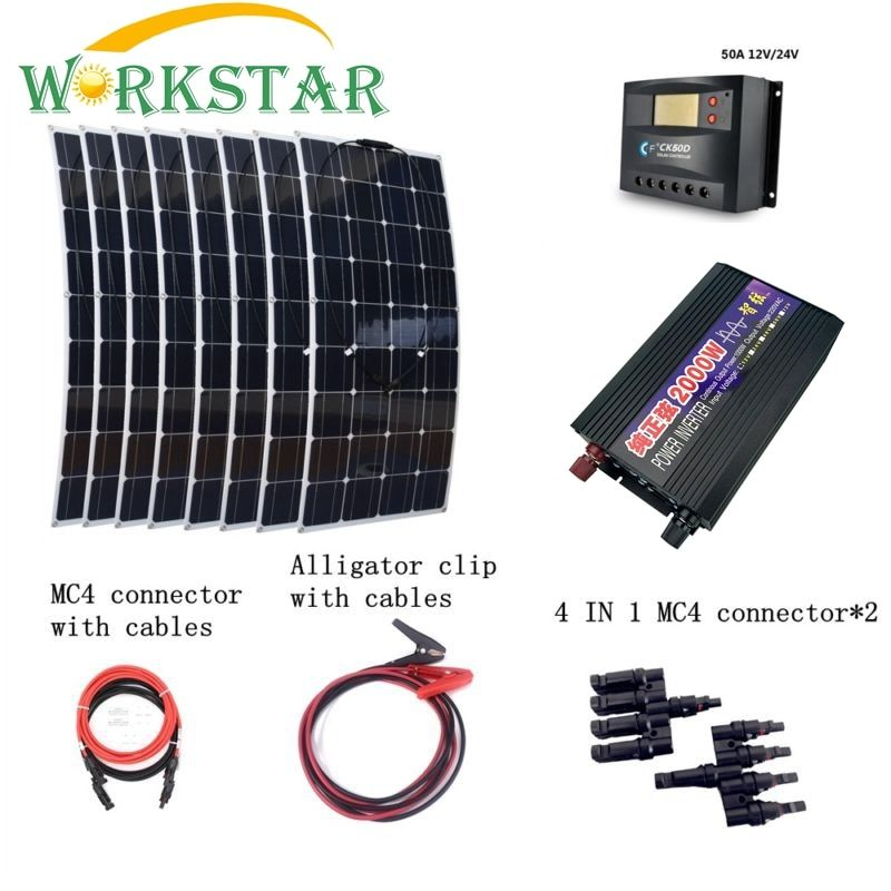 8pcs 100W Flexible Solar Panels with 2000W Inverter 30A Controller Quick Connection Cables Emergency 800W Solar Power System Kit