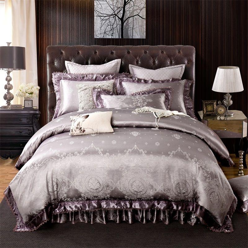Silver Gold Queen King size Bedding set Luxury Satin Jacquard Cotton Bedding sets Wedding Duvet cover Bed sheet set Pillowcases
