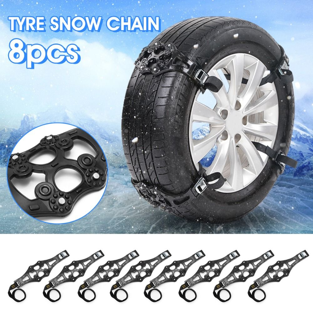 3x 8x UNIVERSAL Black Winter Car Tire Snow Adjustable Anti-skid Safety Double Snap Skid Wheel TPU Chains For Truck