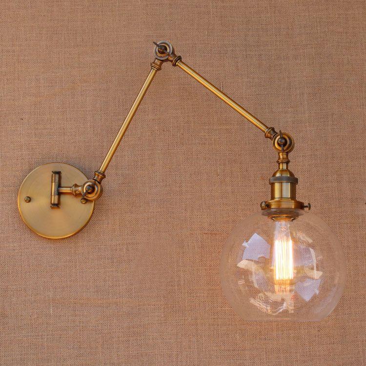 Rétro laiton réglable Long bras applique Vintage LED escalier lumière Loft Style industriel applique Murale Apliques LED Arandela