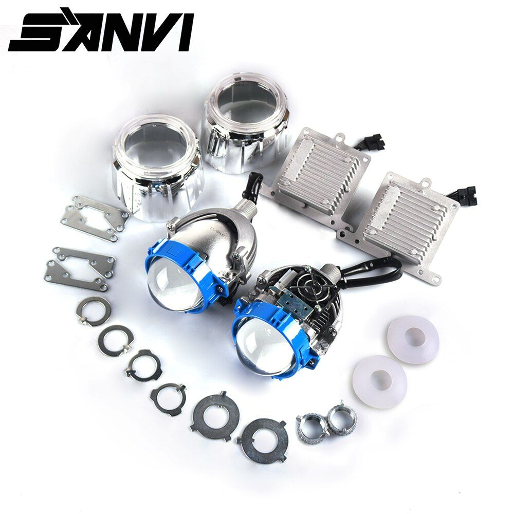 Sanvi 2.5 inch 35W 5500K Bi <font><b>LED</b></font> Lens Headlight Auto Projector H4 H7 9006 <font><b>LED</b></font> Light Retrofit Kits Car Motorcycle Headlight