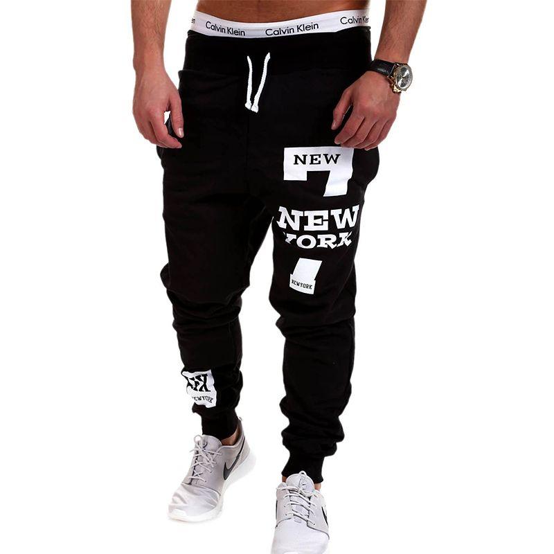 QINGYU Mens Joggers 2017 Marca Pantalones Masculinos Hombres Pantalones Casuales Pantalones de Chándal Basculador Negro XXXL KDBB
