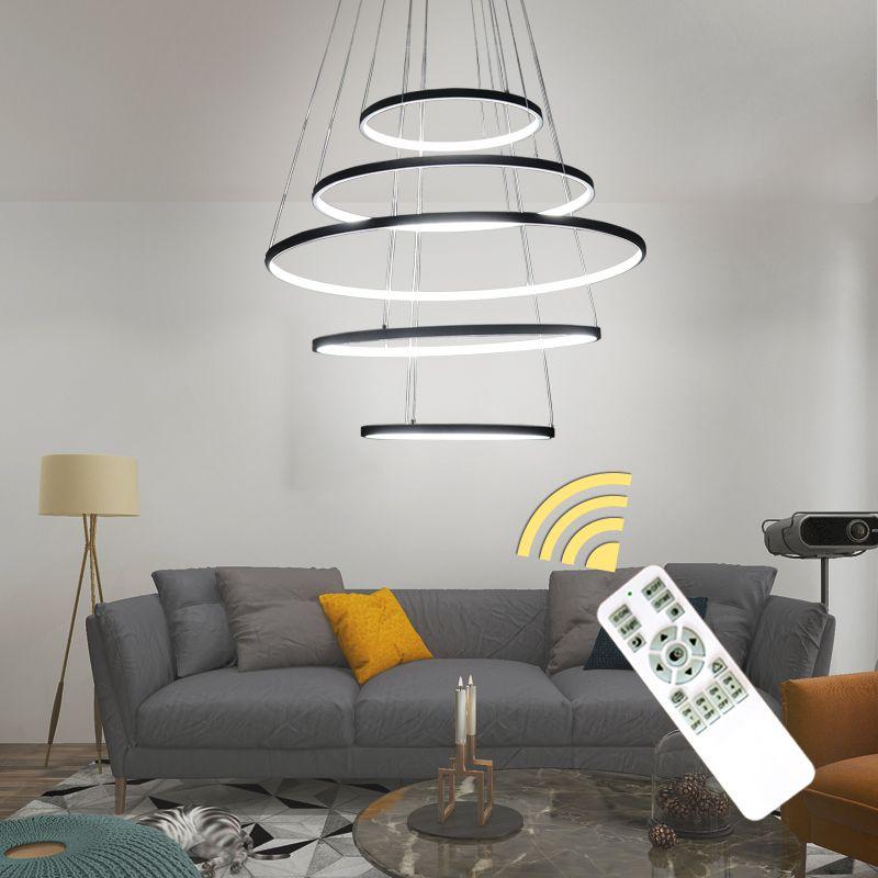 Neue Kreis Ringe Moderne LED Kronleuchter Lichter Für Wohnzimmer Schlafzimmer 5 4 3 2 Tiers Mode Led Kronleuchter Hause beleuchtung Leuchte