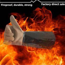 سلامة لحام قفازات مقاومة للحريق قفازات Guantes Proteccion حرارة للحريق ارتداء مقاومة العمل جلدية طويلة قفاز كليب