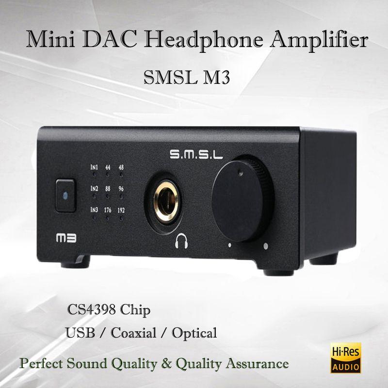 SMSL M3 Mini Dac USB Amplifier Hifi Headphone Amplifier Audio Portable Decoder Headphone Amp CS4398 Sound Amplifiers Optical OTG