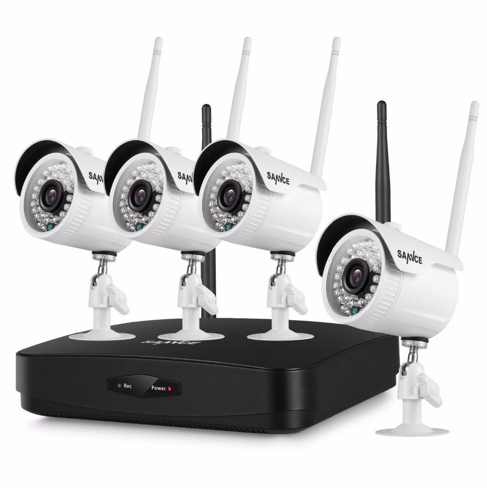 SANNCE 4CH 1080P Wireless NVR Kit 4pcs 1080P 2mp Wifi IP Camera IR-CUT IP66 CCTV Camera home Security System Surveillance Kits