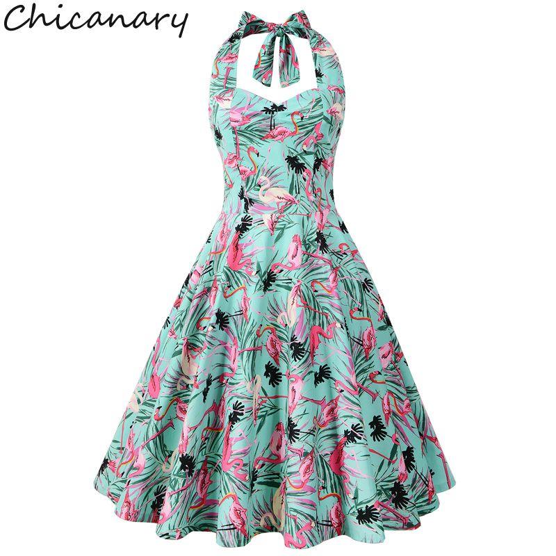 Chicanary Floral Cherry Flamingo Print Women Halter Vintage Dress 1950s Rockabilly Retro Full Dresses Plus Size