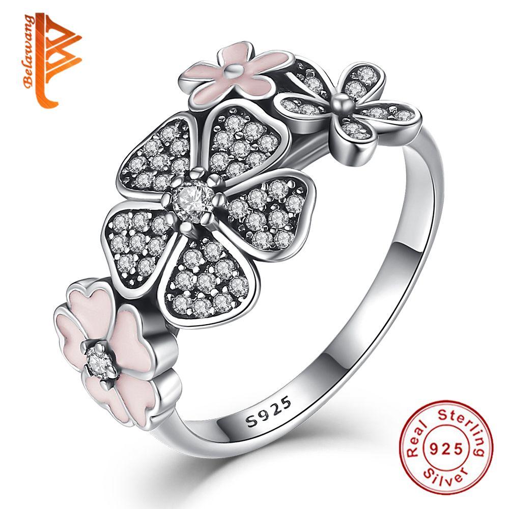 925 Sterling Argent Shimmering Bouquet, Rose Émail & Clear CZ Fleur De Cerisier Marguerite Fleur Bagues pour Femmes De Mariage cadeau