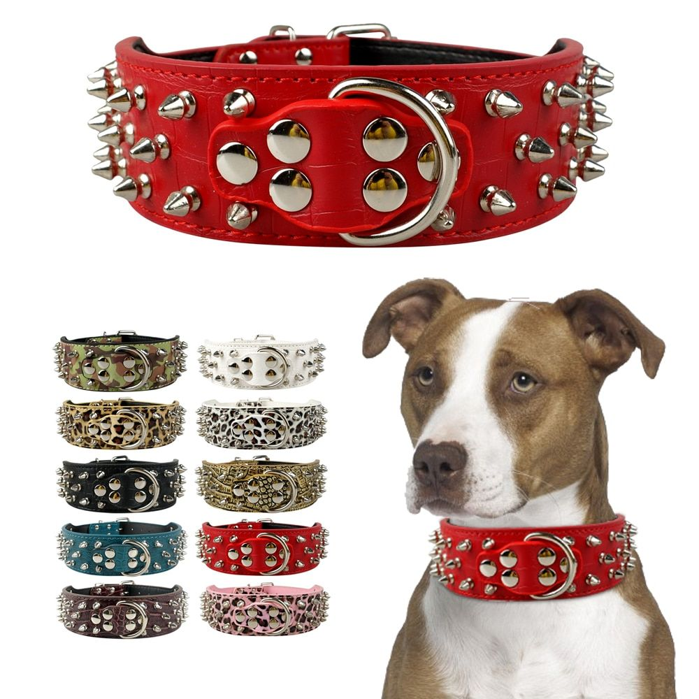 Pet Dog Collar Leather Collars for Pitbull Spiked Studded Dogs Collars for Medium Large Pets Pit Bull Dog