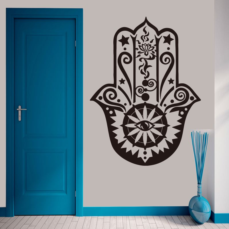 Arte tatuajes de pared de vinilo decoración del hogar mano de hamsa fatima yoga vibes 3D Etiqueta de La Pared Tatuajes de Ojo de Pez Indio Buda Lotus Pattern Mural