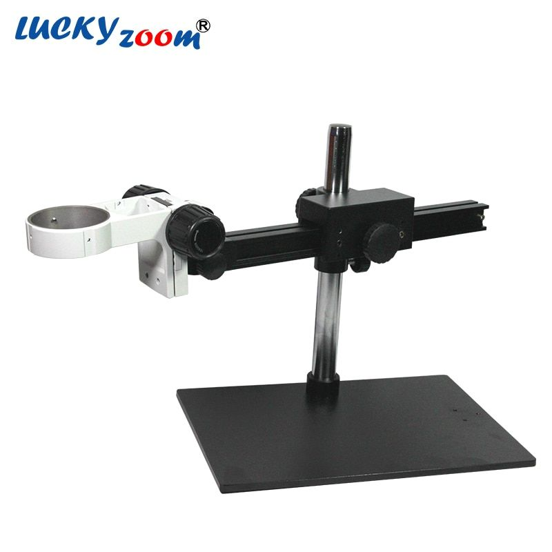 Luckyzoom Single Boom Stereo Zoom Microscope Stand With Adjustable Arm Bracket For Trinocular Microscopio Phone Repair PCB Stage