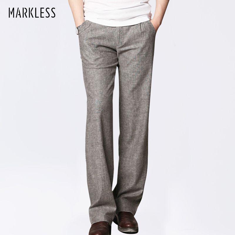 Markless mince lin hommes pantalon mâle Commercial lâche décontracté affaires pantalon vêtements pour hommes droit fluide homme pantalon