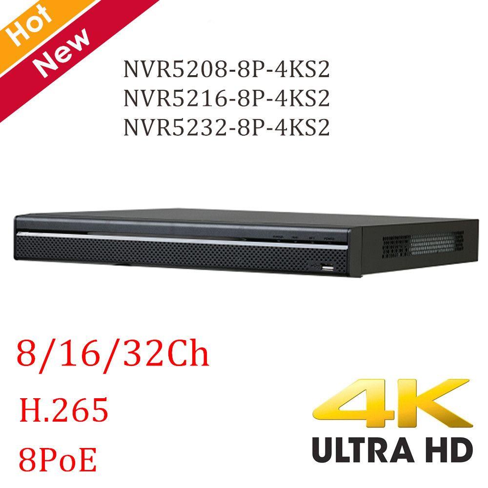 4K DH NVR 8ch 16ch 32ch NVR5208-8P-4KS2 NVR5216-8P-4KS2 NVR5232-8P-4KS2 H.265 8 ports POE 4K resolution NVR recorder