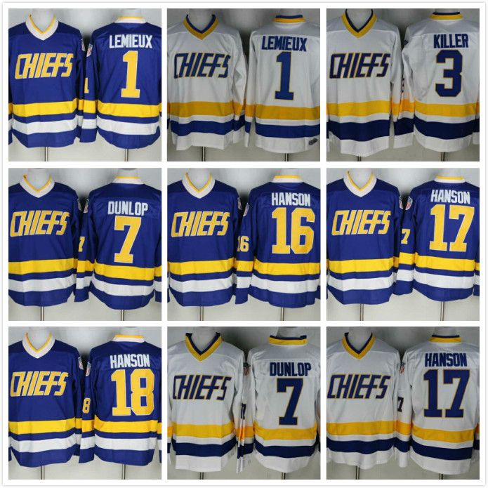 Hanson Brothers Slap Shot Chiefs Charlestown Ice Hockey Jersey 1# 3# 7# 16# 17# 18# Retro Hockey Jerseys USA Size