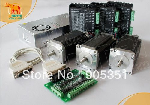 Promotion of Wantai !!! Ship from USA High Quality,3Axis Nema23 step motor428oz,3A,dual shaft &Driver CNC control