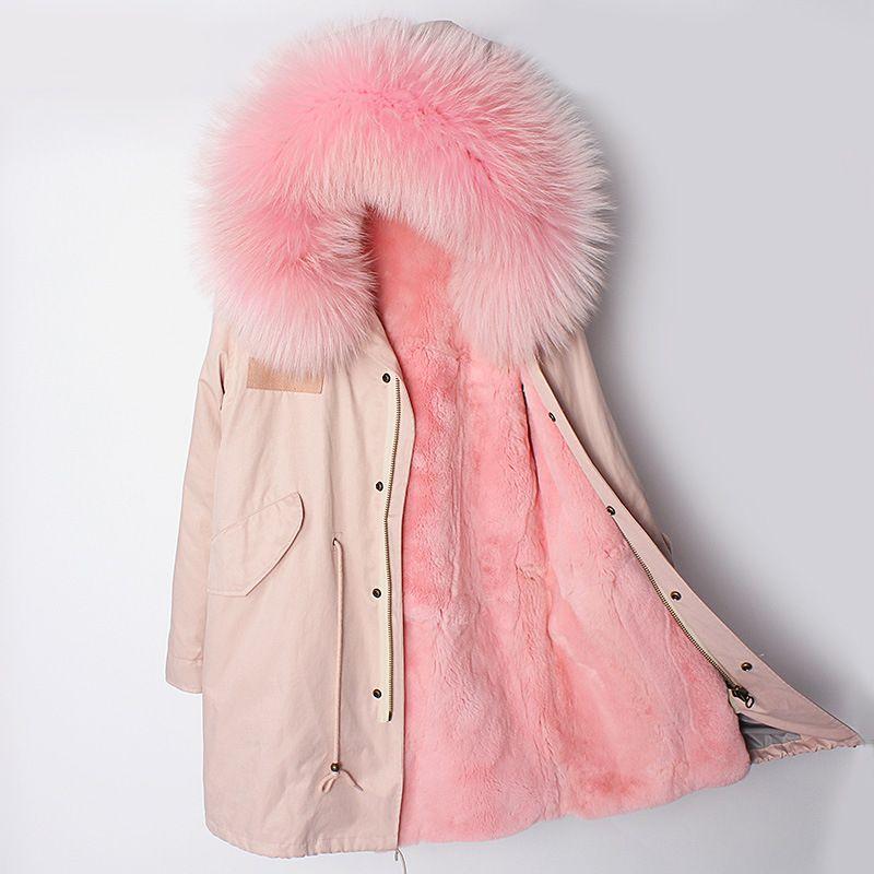 2018 Winter Jacke Frauen Neue Natürliche Echt Rex Kaninchen Pelz Liner Waschbären Pelz Kragen Mantel Oberbekleidung Lässige Mode Dicken Marke
