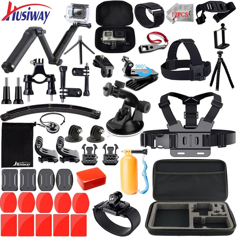 Husiway for Gopro accessories set for go pro <font><b>hero</b></font> 5 4 3 2 kit mount for SJ5000 Eken / SOOCOO / xiaomi yi 4k camera tripod 13M