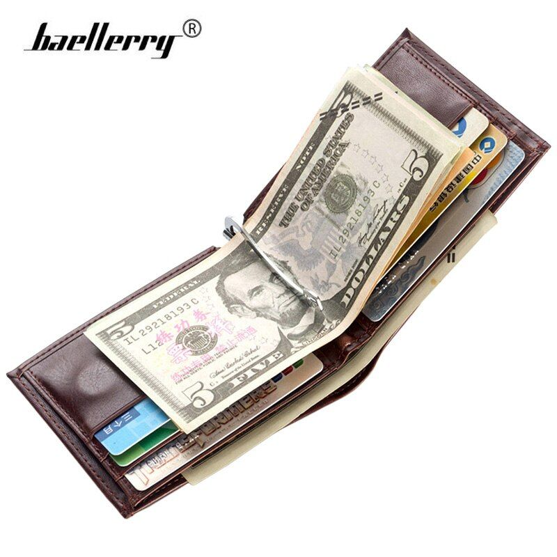Baellerry Leder Geld-Clip Brieftasche Männer Dünne Brieftasche Magnetic Männer Geldbörsen Vintage Clamp Für Geld Clips Halter Münze Karte Geldbörse