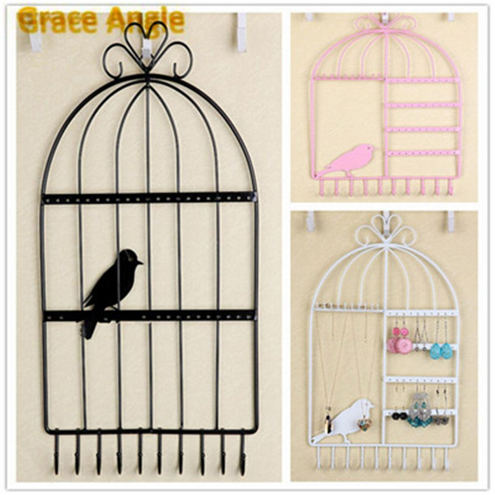 1PCS Economic Bird Cage Iron  Earrings Necklace Display Jewelry Wall Mount Stand Holder 40Holes 10Hooks Pink,Black,White