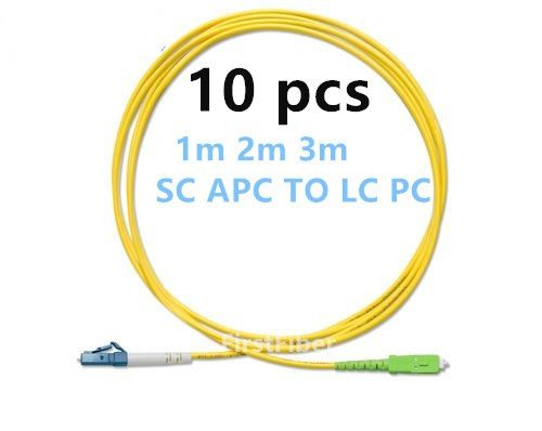 FirstFiber 1m 2m 3m 10pcs LC UPC to SC APC G657A LC PC Fiber Patch Cable, Jumper, Patch Cord Simplex 2.0mm PVC SM