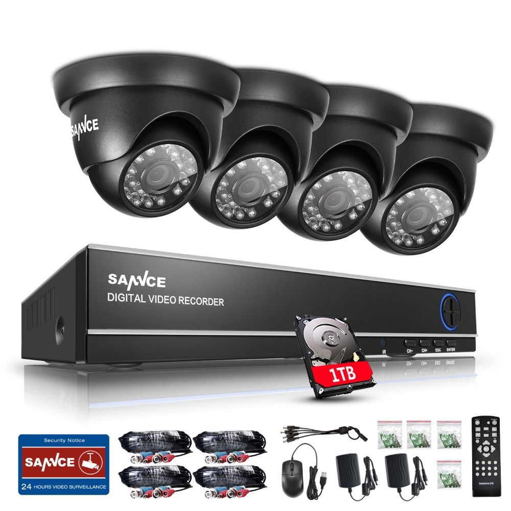 SANNCE 8CH 1080N DVR 1080P HD NVR CCTV System 4pcs 720P TVI Security Cameras IR Indoor Outdoor CCTV Video Surveillance