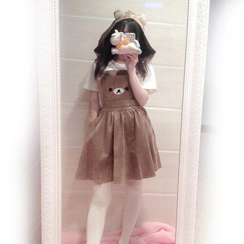 Robe Kawaii Rilakkuma pour femme, jolie robe à broderie ours, robe Lolita à Bandage général, robe d'été (capuche amovible)