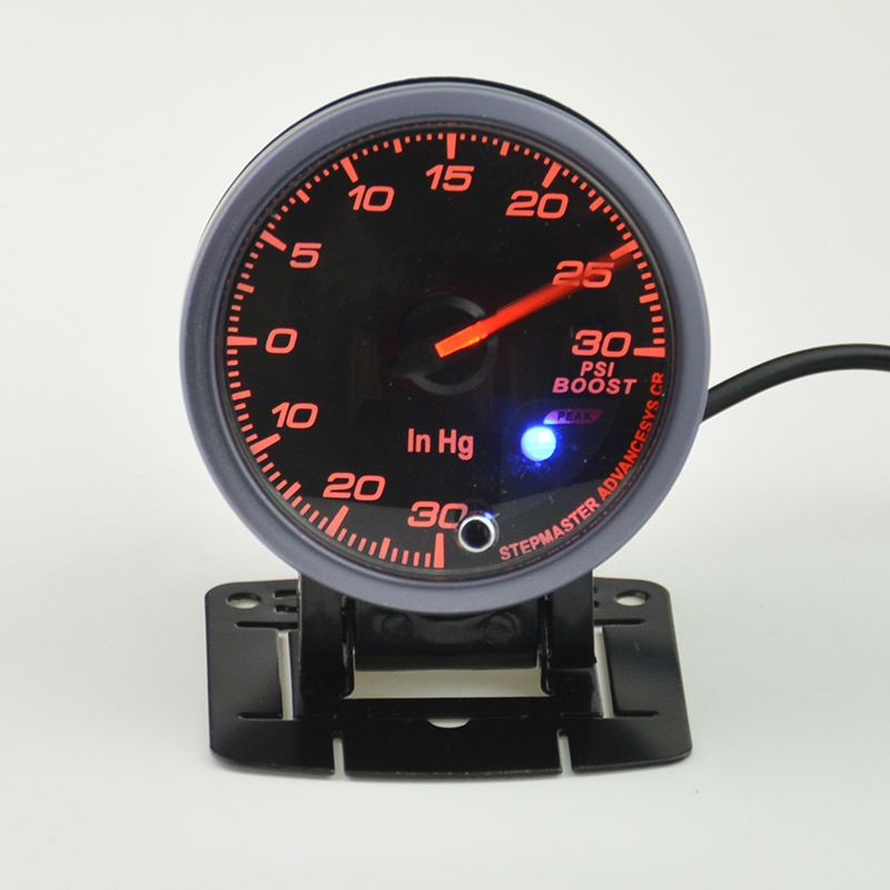 60 mm Auto Turbo boost gauge  auto gauge warning function Automotive instrument pressure turbine gauge 0-30 PSI Free shipping