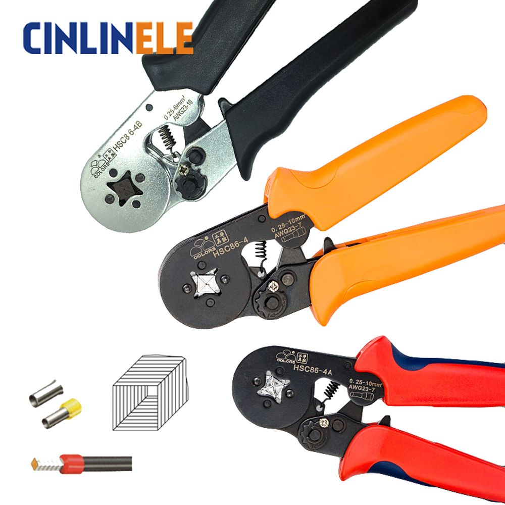 HSC8 6-4 0.25-6mm 23-10AWG,10S 0.25-10mm 23-7AWG terminal crimping Plier crimp Plier tool <font><b>tube</b></font> terminals crimper tool