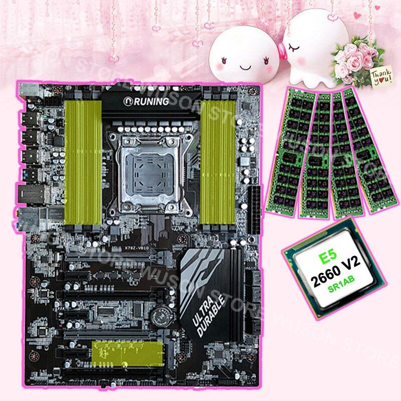 8 RAM slots motherboard brand Runing Super ATX X79 motherboard with CPU Intel Xeon E5 2660 V2 2.2GHz RAM 4*16G 1866MHz DDR3 RECC