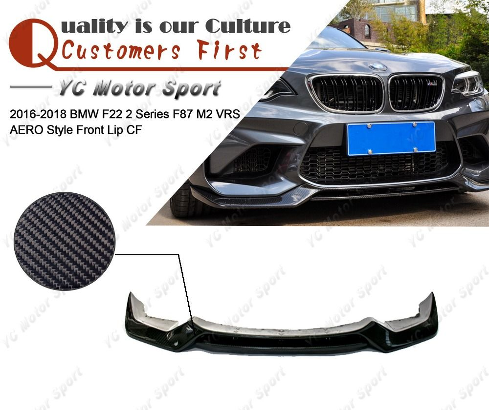 Car Accessories Carbon Fiber VRS AERO Style Front Lip Fit For 2016-2018 F22 2 Series F87 M2 Front Lower Splitter Lip