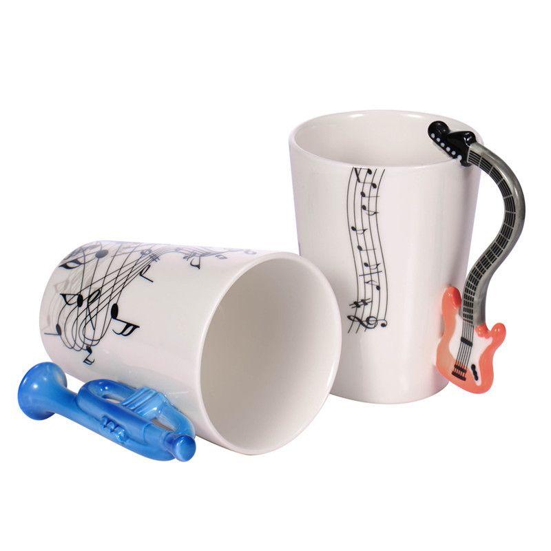 Wholesale Guitar Ceramic Cup Personality Music Note Milk Juice Lemon Mug Coffee Tea Cup Home Office Drinkware Unique Gift
