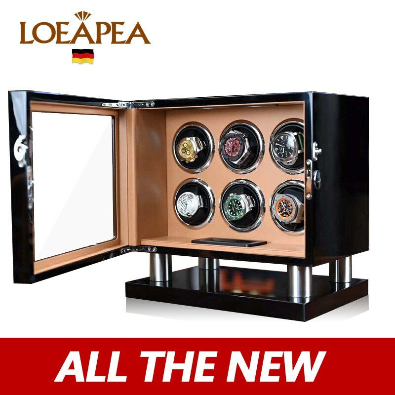 New Watch winder 6 automatic watch box Electric rotating box watch organizer/New LCD touch screen/High-end quality/Suprise gift