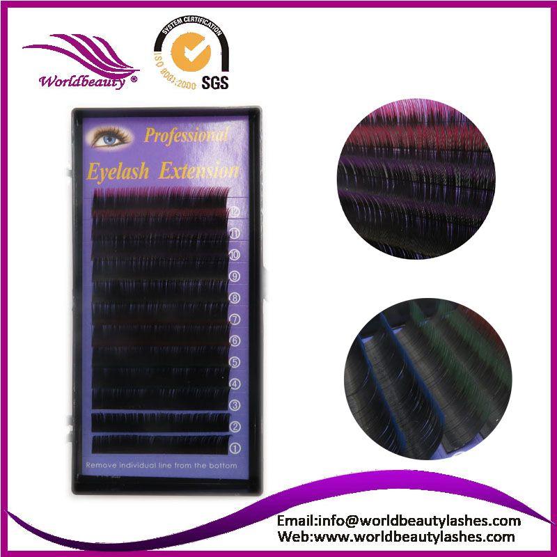 Hot Selling Professional Natural Two Tone  Silk Lash Eyelash Extensions Black+Color  Eyelashes,Free Shipping