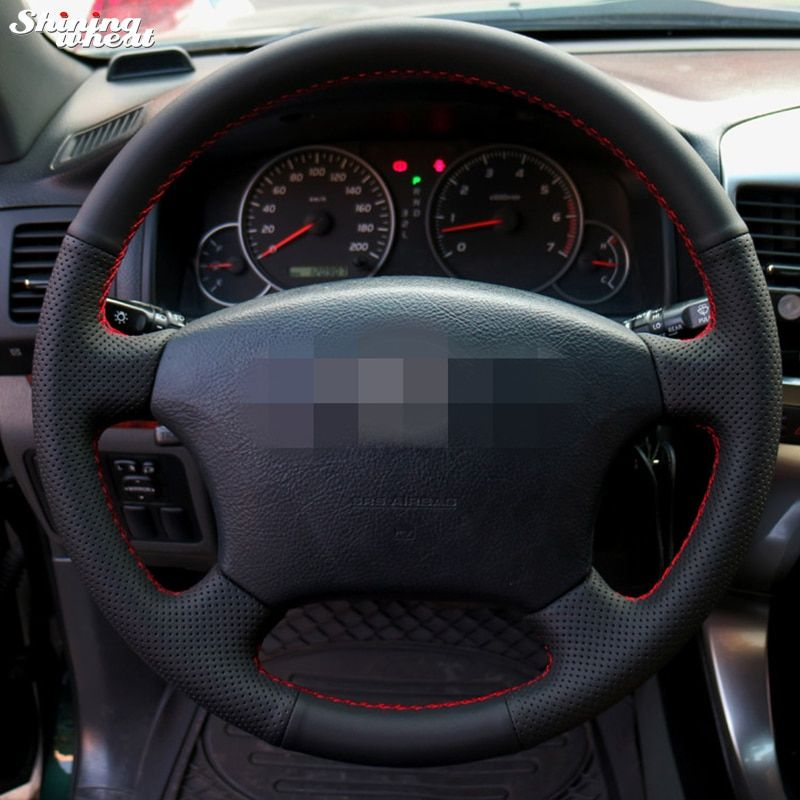Shining wheat Hand-stitched Black Leather Steering Wheel Cover for Old Toyota Land <font><b>Cruiser</b></font> Prado 120