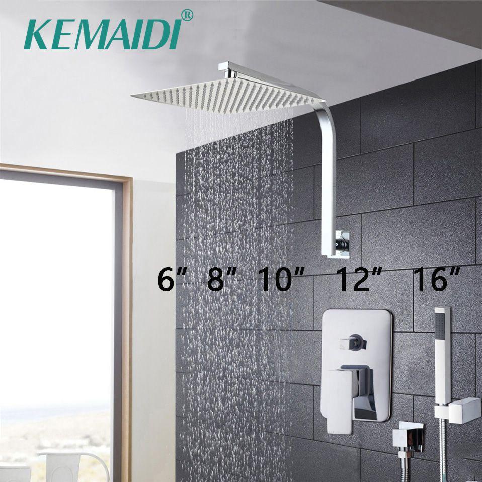 KEMAIDI Elegant <font><b>Wall</b></font> Mounted Bathroom Shower Faucet Set Rainfall Head +Mixer Taps Hand Shower Waterfall Rain Bathroom Faucets