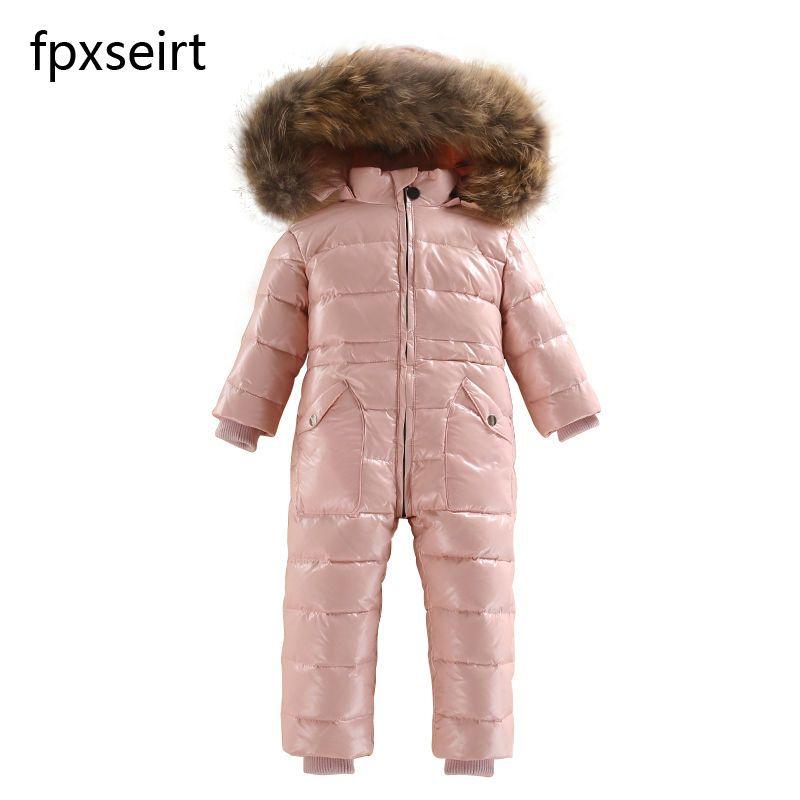Nouveau 2018 Russie hiver Garçons Vêtements Étanche Jusqu'à Veste Chaude Pour Les Filles Enfants 7 Couleur Épais Salopette Manteaux Blanc Canard vers le bas