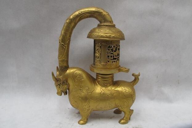 100% Pure Bronze 24K Gold Dragon Phoenix ox palace lantern Candlestick statue