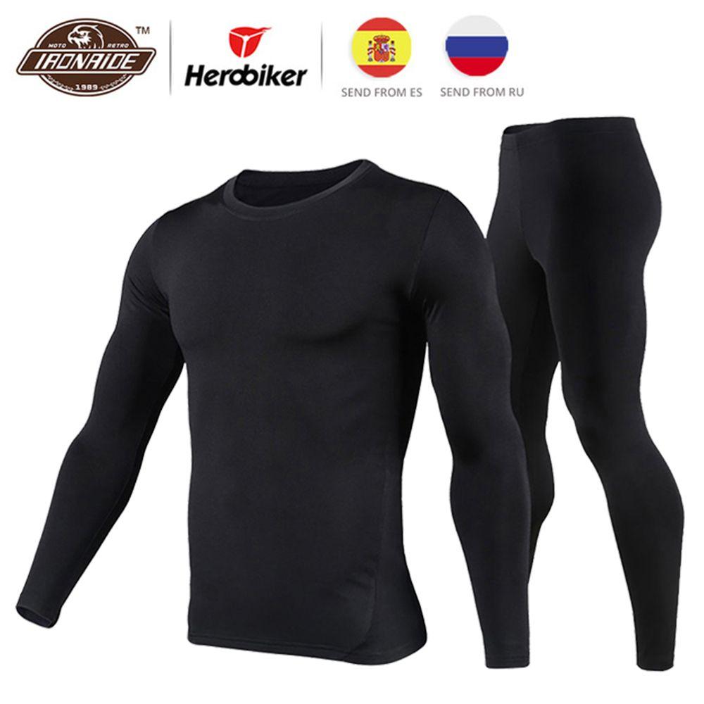 Herobiker Men's Fleece Lined Thermal Underwear Set Motorcycle Skiing Base Layer <font><b>Winter</b></font> Warm Long Johns Shirts & Tops Bottom Suit