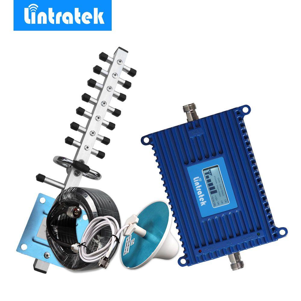 Lintratek 3G Repeater 2100 UMTS Mobile Repeater 70dB Gain Signal Booster LCD Display Amplifier 2100MHz Repetidor Yagi Kit 3G @